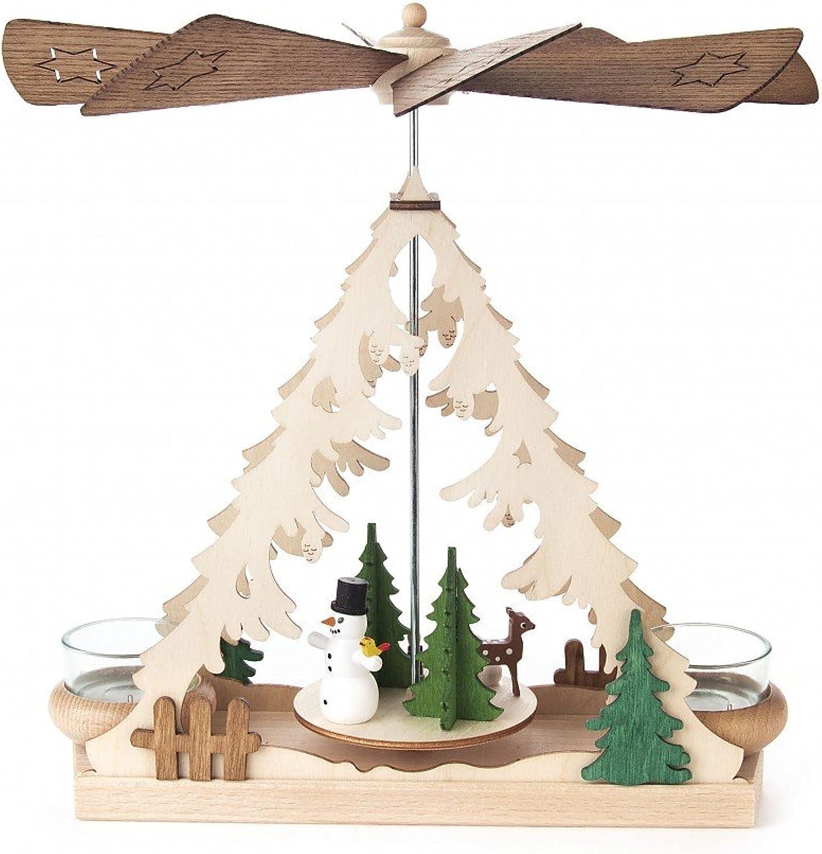 Tischpyramide mit Schneemann für Teelichter - Dregeno Erzgebirgische Holzkunst - Artikel 085 833