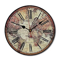 RELIAN Quiet Non-Ticking Silent Wood Wall Clock with Roman Numeral Light Bedroom Kitchen Living Room 14
