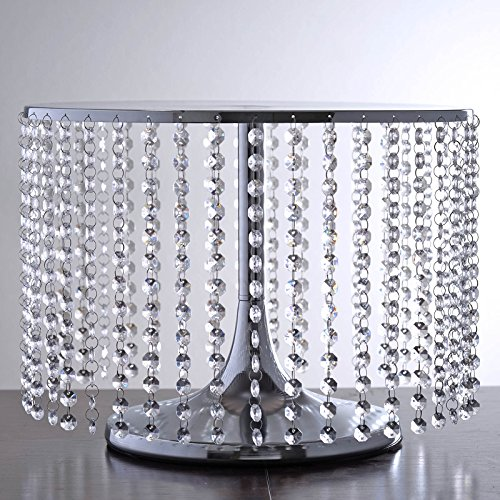 "Tableclothsfactory Crystal Pendants Metal Chandelier Wedding Cake Stand - 12"" Tall"