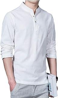 [パリド] スタンドカラー シャツ 無地 長袖 シンプル 立ち襟 スリム デザイン メンズ S ~ 5XL