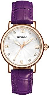 Tayhot Women Purple Leather Quartz Watch,Lady Girls Analogue Crystal Dial Rose Gold Waterproof Luxury Business Casual Simple Design Dress Watch with Purple Leather Strap
