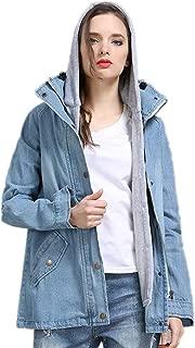 Womens Stylish Hooded Denim Jacket Long Sleeve Boyfriend Trends Two Piece Coat Outerwear