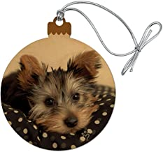 GRAPHICS & MORE Yorkie Yorshire Terrier Puppy Dog on a Spotted Cushion Wood Christmas Tree Holiday Ornament