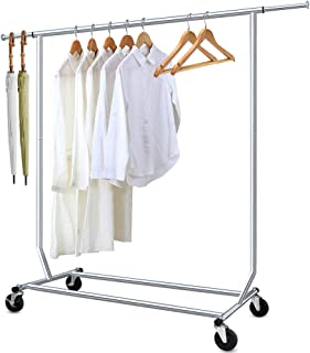 Camabel Clothing Garment Rack Heavy Duty Adjustable Rolling Moveable Commercial Grade Steel Extendable moveable hanging drying Organizer Chrome Storage Metal Shelf on with Wheels for Boxes Shoes