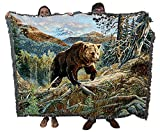 Over The Top Brown Bear - Terry Doughty - Cotton Woven Blanket Throw - Made in The USA (72x54)