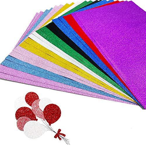 30 Sheets Glitter Paper Folding Decoration Paper,Self-adhesive Glitter Paper for DIY Glitter Paper Project-Wedding Birthday Party Decoration,10 Colors