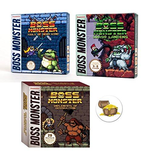 Paquete de expansiones de juego de cartas Boss Monster con implementos de destrucción y aterrizaje de choque y herramientas de Hero Kind Plus One Treasure Chest Buttons