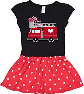 inktastic - Valentine's Day Red Firetruck with Pink Hearts Toddler Dress 2873d