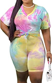 MAYFASEY Two Piece Outfits for Women Plus Size Summer Casual Print Bodycon Short Sleeve Tracksuit Jogger Shorts Pants Set ...