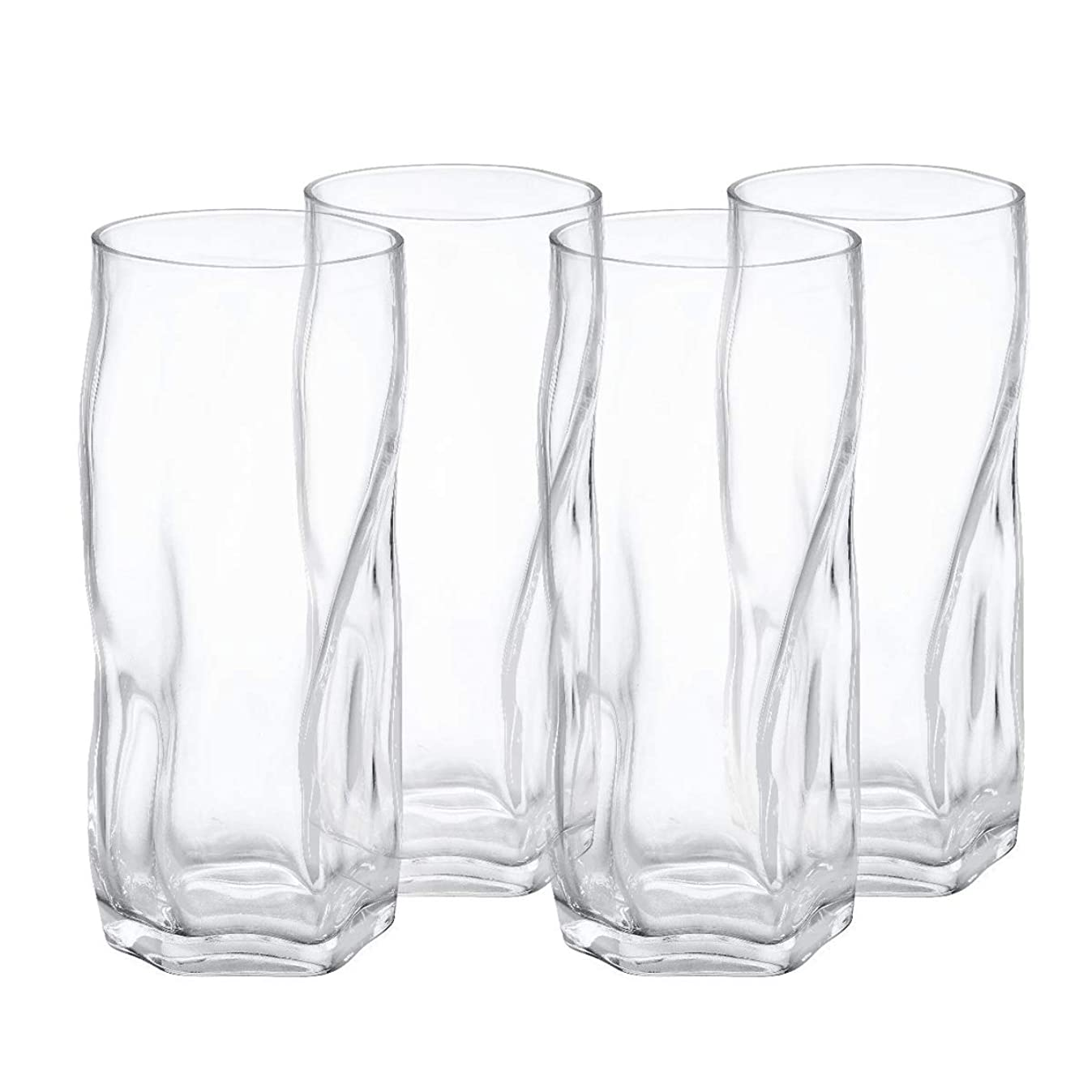 Drinking glasses Clear Water Tumbler, Highball Glassware Set of 4, 18OZ