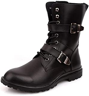 Xujw-shoes store, 2019 Mens New Lace-up Flats Mens Mid Calf Boot for Men Military Boot Dual Metal Buckle Decor Lace Up Leather Anti-Slip Rubber Sole (Fleece Inside Optional) Waterproof Soft Black