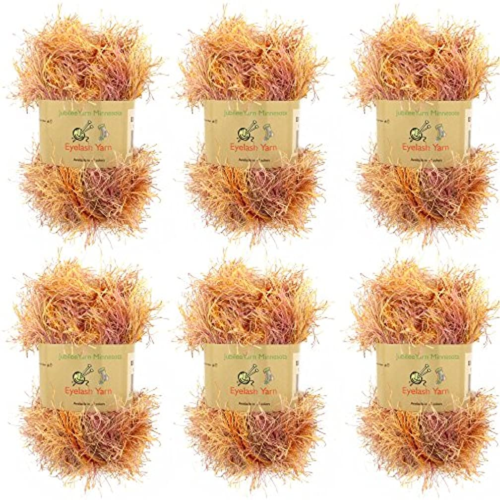 BambooMN JubileeYarn 50g Eyelash Ruffle Fur Yarn, 6 Skeins Autumn