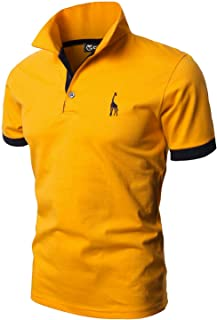GHYUGR Men's Short Sleeve Polo Shirts Giraffe Contrasting Colors Golf Tennis T-Shirt