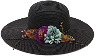 2019 Spring Summer Retail Flowers Classic Toquilla Straw Panama Hat Dome Straw Hat Women Beach Hat Sun Hat` TuanTuan (Color : Black, Size : 56-58CM)