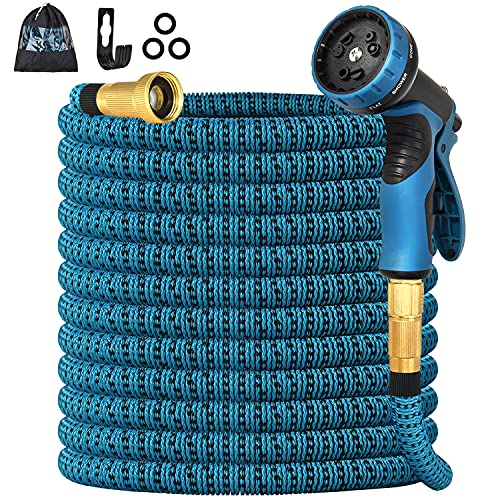 "Knauue 50ft Expandable Garden Hose Upgraded,Flexible Lightweight Water Hose with 9 Way Spray Nozzle,Durable 4-Layer Latex Core,3/4"" Solid Brass Fittings,Best Choice for Watering and Washing"