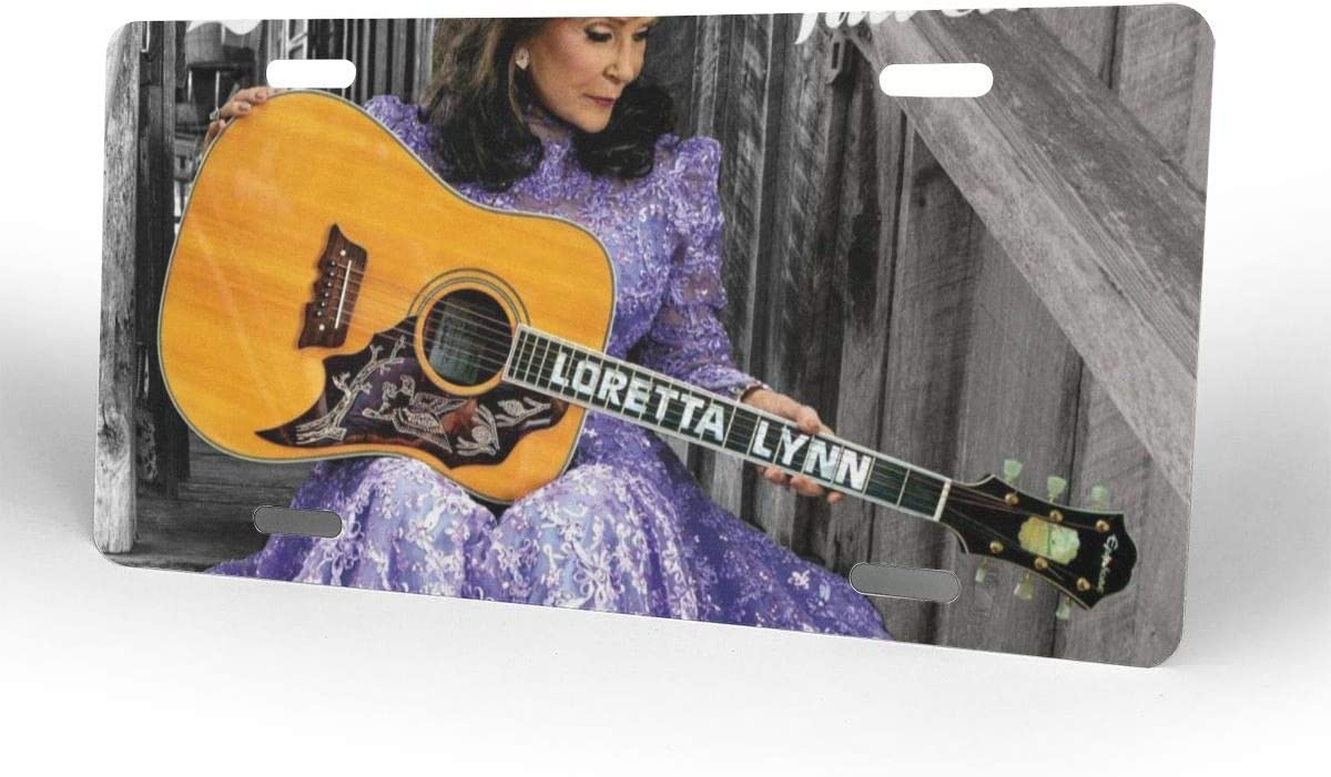 Siadana1 6 X 12 Durable License Plate 4 Holes Loretta Lynn Full Circle Personalized Car Tag