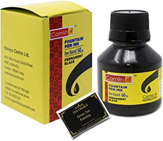 Camlin Kokuyo Permanent Black Fountain Pen Ink Bottle (2 oz / 60 ml Bundle with TeaLegacy Free Sampler) Dye Based For Fountain Pens, Quills & Calligraphy Pens