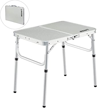 REDCAMP Folding Camping Table Portable Adjustable Height Lightweight Aluminum Folding Table for Outdoor Picnic Cooking, White