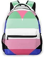 Genderfluid Abrosexual Pride Flag Themed Canvas Casual Mesh Backpack Pattern Printed Bookbag Book Back Mini Laptop Bag For Girls Boy Teen Women Kid Men School Travel Hiking