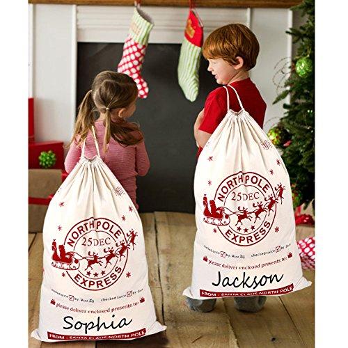 OurWarm 2Pcs Santa Sacks Canvas Bags with Drawstring Christmas Bag Large Santa Bags for Kids 19 x 27 Inch Xmas Presents Storage