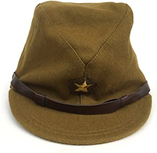 ZWJPW-WW2 WWII Japan Officer Hats Japanese CAPS Woolen Officer Cap with Badge Dark Yellow