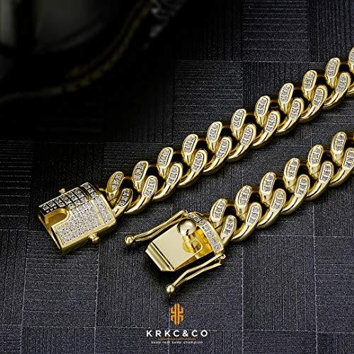 『KRKC&CO 14mm 喜平チェーン メンズネックレス ステンレス キューバンチェーン ジルコニア 18K金メッキ 極太 キヘイ メンズ チョーカー CZダイヤ 金属アレルギー対応 ラッパー ダンサー B系 ヒップホップ (イエローゴールド, 61)』の6枚目の画像