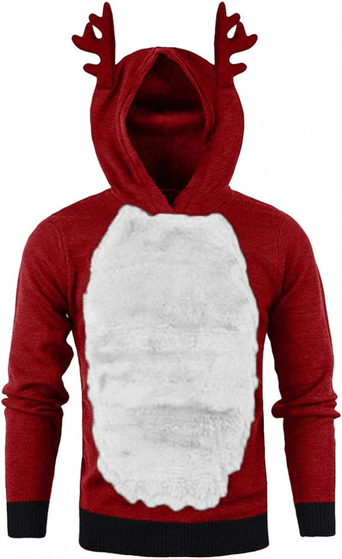 Aayomet Hoodies for Mens Christmas Winter Ugly Patchwork Mens Hoodies Reindeer Feather Fleece Hoodies Shirts