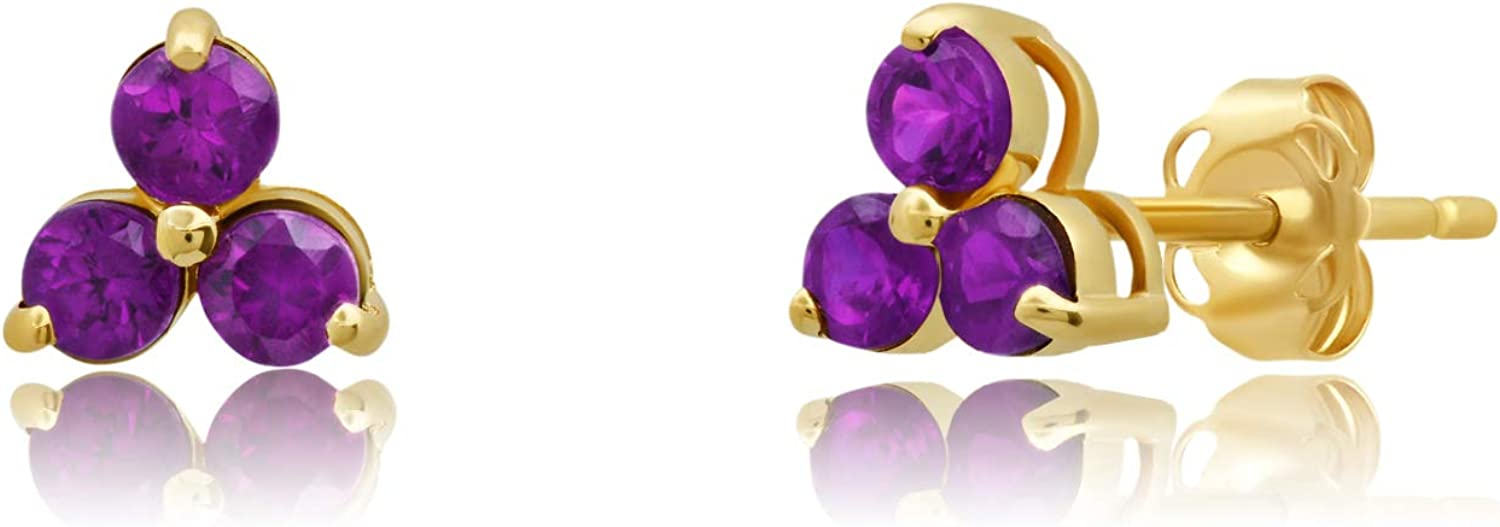 14k Solid Yellow or White Gold Mesa Mall Cash special price Gemstone Trio Petite Stud Earring