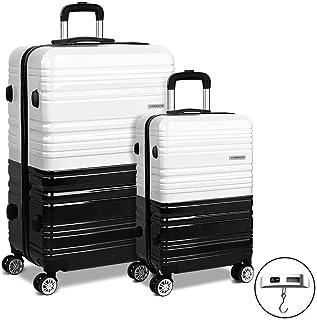 Wanderlite 2pc Luggage Suitcase Free Scale Trolley Set TSA Hard Case Lightweight