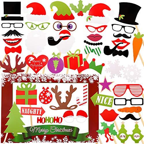 VINFUTUR Photo Booth Props Navidad, 50pcs Photocall Navidad Accesorios Photobooth Fotocall para Cabina de Foto Props Fiesta Kit+Marco Photocall Atrezzo para Navidad Decoración DIY (kit navidad)