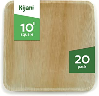 Kijani Biodegradable Palm Leaf Plates - 10 Inch Square - Elegant & Sturdy Like Bamboo Disposable Plates - Eco-Friendly & Compostable Dinnerware - 20 Pack