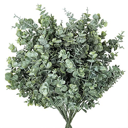 6 Pack Faux Eucalyptus Leaves Bush Artificial Greenery Stems Fake Silver Dollar Eucalyptus Branches Plants in Dusty Green for Greenery Wedding Jungle Baby Shower Party Bouquet Vase Centerpiece Decor