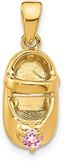 14k Yellow Gold 3 D October/synthetic Stone Engraveable Shoe Pendant Charm Necklace Baby Birthstone Fine Jewelry Gifts For Women For Her