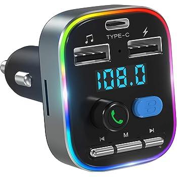 LENCENT - Transmisor FM Bluetooth para coche, QC3.0 inalámbrico, adaptador Bluetooth para coche, reproductor de música, kit de coche con 2 puertos USB, manos libres, adaptador estéreo de música Mp3, soporte de disco U y tarjeta TF