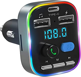 LENCENT Bluetooth FM Transmitter for Car, QC3.0 Wireless Bluetooth Car Adapter Music Player Car Kit with 2 USB Ports Charg...