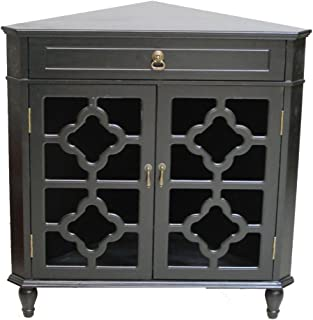 Heather Ann Creations Modern 2 Door Corner Cabinet with Drawer with 8 Pane Clover Glass Insert Black