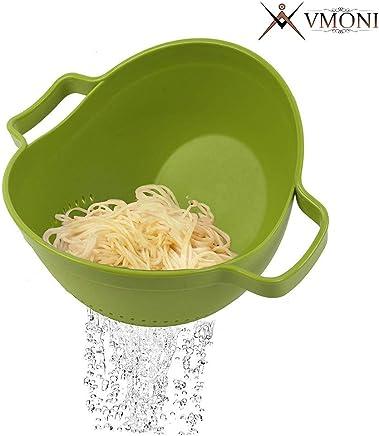 Vmoni 2 in 1 Plastic Grain and Vegetables Washing Rice Bowl and Strainer (Medium, Multicolour)
