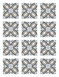 Panorama Azulejos Adhesivos Cocina Baño Pack de 24 Baldosas de 20x20 cm Hidráulico Oriental Azul - Vinilos Cocina Azulejos - Revestimiento de Paredes - Cenefas Azulejos Adhesivas