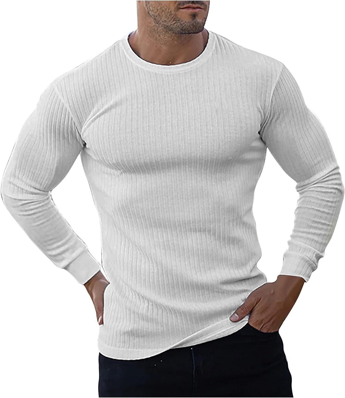 Zainafacai Men's Crewneck Sweater Mens Ribbed Slim Fit Knitted Pullover Sweater Lightweight Regular Fit Basic Sweater