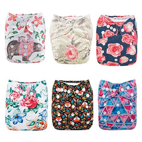 ALVABABY Pack 6pcs Pañales de tela ajustables y lavables de bolsillo + 12 insertos 6DM46-ES