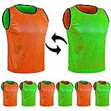 SPORTSBIBS Juego de 6 baberos de doble cara reutilizables para entrenamiento de fútbol, baloncesto – Juego de 6 piezas – Reversible Futbolín Ejercicio Sport Camiseta Unisex S M L XL