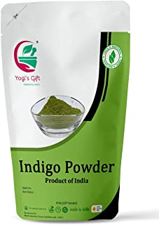 Yogi's Gift Organic Indigo Powder for Hair dye | Ideal for Black and Dark Hair | Indigofera Tinctoria | Black Henna | 8 oz...
