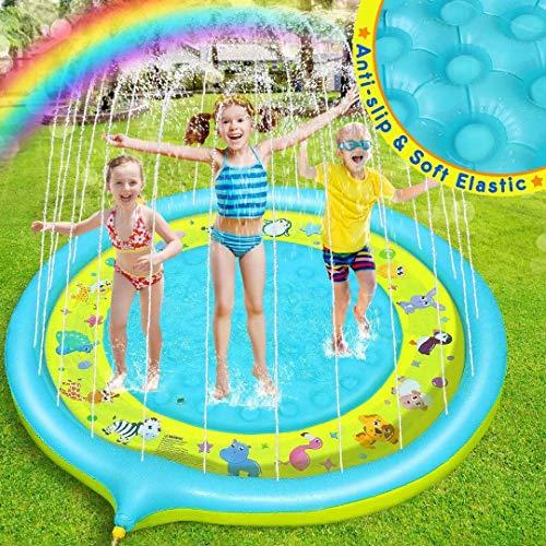 Dookey Tappetino Gioco d'Acqua, 170CM Aumento Antiscivolo Splash Pad per Bambini, Splash Play Mat, Piscina Esterna per Bambini per attività Familiari (Blu Giallo)