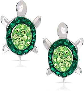 BLING BIJOUX Green Baby Sea Turtle Earrings Never Rust 925 Sterling Silver Natural and Hypoallergenic Studs For Women & Gi...
