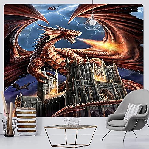 PPOU Tapiz de Arte psicodélico de dragón Medieval Antiguo Hippie Tapiz Decorativo Bohemio Manta Colgante de Pared A6 100x150 cm
