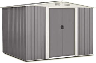 Goplus Galvanized Steel Outdoor Garden Storage Shed 6 x 8 Ft Heavy Duty Tool House W/Sliding Door (Gray)