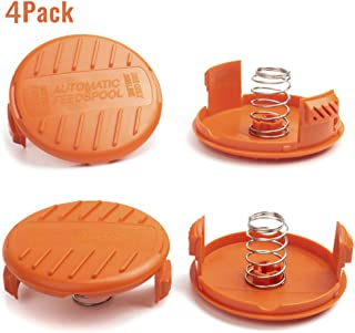 X Home Weed Eater Spool Cap Covers Compatible with Black Decker GH900 GH600 LST522 LCC140 String Trimmer, Replacement RC-100-P Edger Parts, 385022-03 Bump Cover Cap (4 Caps, 4 Spring)