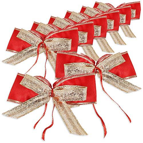 com-four® 8X große Geschenkschleife zum Dekorieren und Verpacken - Fertigschleife in rot und goldfarben - Größe: 12 x 7 cm (08 Stück - Rot)