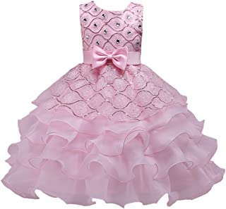 Zhhlaixing For 3-8 years old ガールズ Rhinestone Bowknot Sleeveless Princess Dress Kids お誕生日 Wedding パーティー Tutu Gown