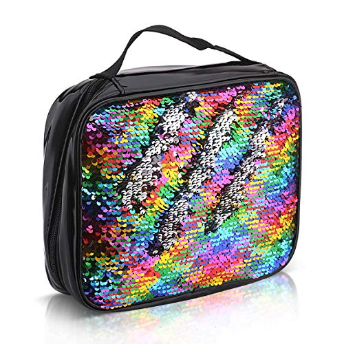 Camonity Kids Insulated Lunch Box Durable Lunch Tote Snacks Organizer for Girls Boys Women Reversible Sequin Lunch Bag for Work and School